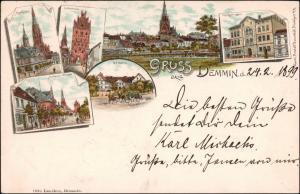 Litho AK Demmin Gruss aus Markt, Anklamer Straße, Gymnasium 1899