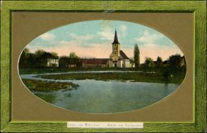 Postcard Wiltschau Wilcza Kirche Teichpartie Breslau Wroclaw 1911 Passepartout