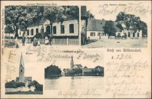 Wilkersdorf (Neumark) Krześniczka 4 B Gasthaus, Kirche b Landsberg Küstrin 1906