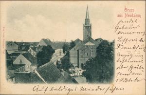 Postcard Neudamm (Neumark) Dębno Straßenblick Kirche Gasthaus 1899