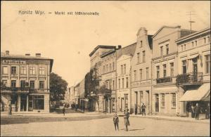 Konitz Chojnice (Kashubian: Chònice) Markt, Apotheke - Mühlenstraße 1918