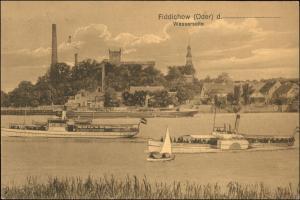 Fiddichow Widuchowa Stadt, Dampfer, Fabriken Gryfino (Greifenhagen) 1918