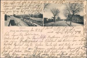 Postcard Neudamm (Neumark) Dębno 2 Bild: Bahnhof, Gasthaus b Königsberg 1916