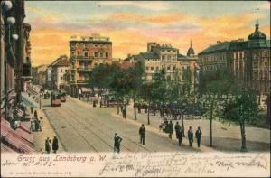 Landsberg (Warthe) Gorzów Wielkopolski Straßenpartie - Straßenbahn 1903