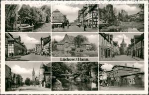 Ansichtskarte Lüchow (Wendland) Markt, Kirchstraße, Langestraße etc 1960
