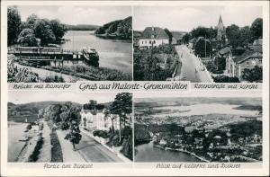 Bad Malente-Gremsmühlen-Malente Dampfer, Rosenstrasse Kirche Kellersee 1955