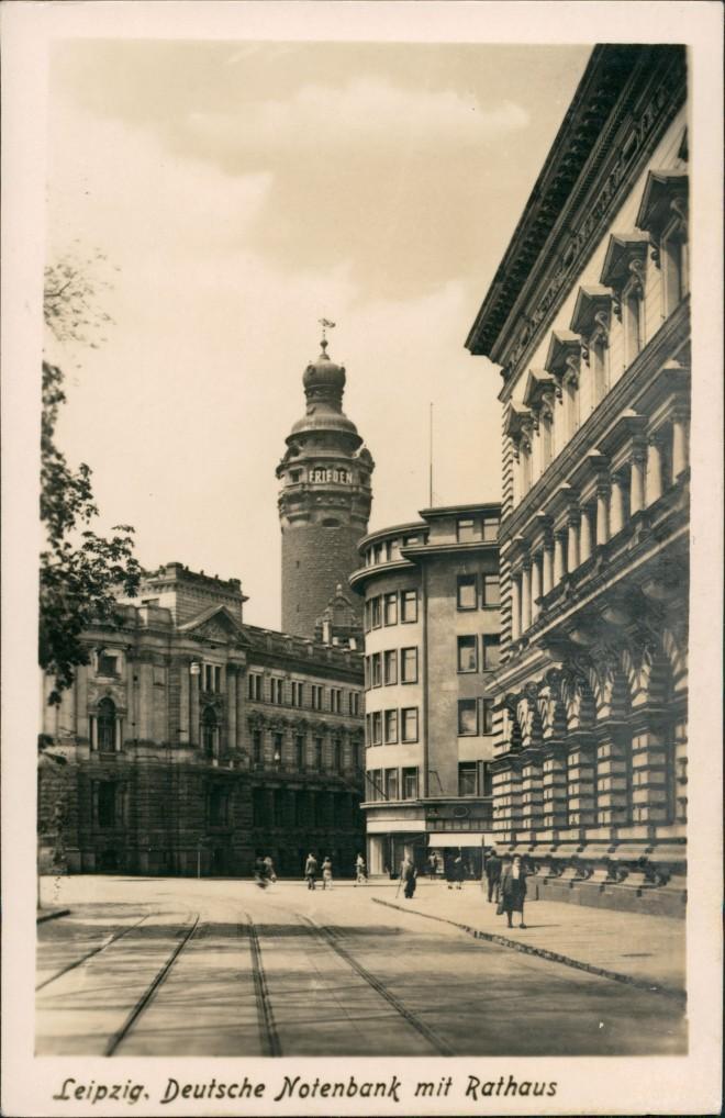 Ansichtskarte Leipzig Straßenpartie Deutsche Notenbank und Rathaus 1954 0