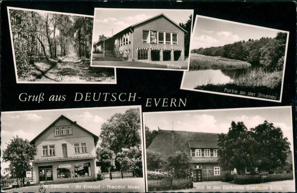 Ansichtskarte Deutsch Evern Schule, Geschäft, Ilmenau 1969 0