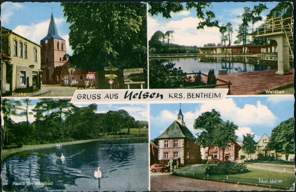 Ansichtskarte Uelsen 4 Bild: Straße, Kirche, Waldbad, Markt 1964 0