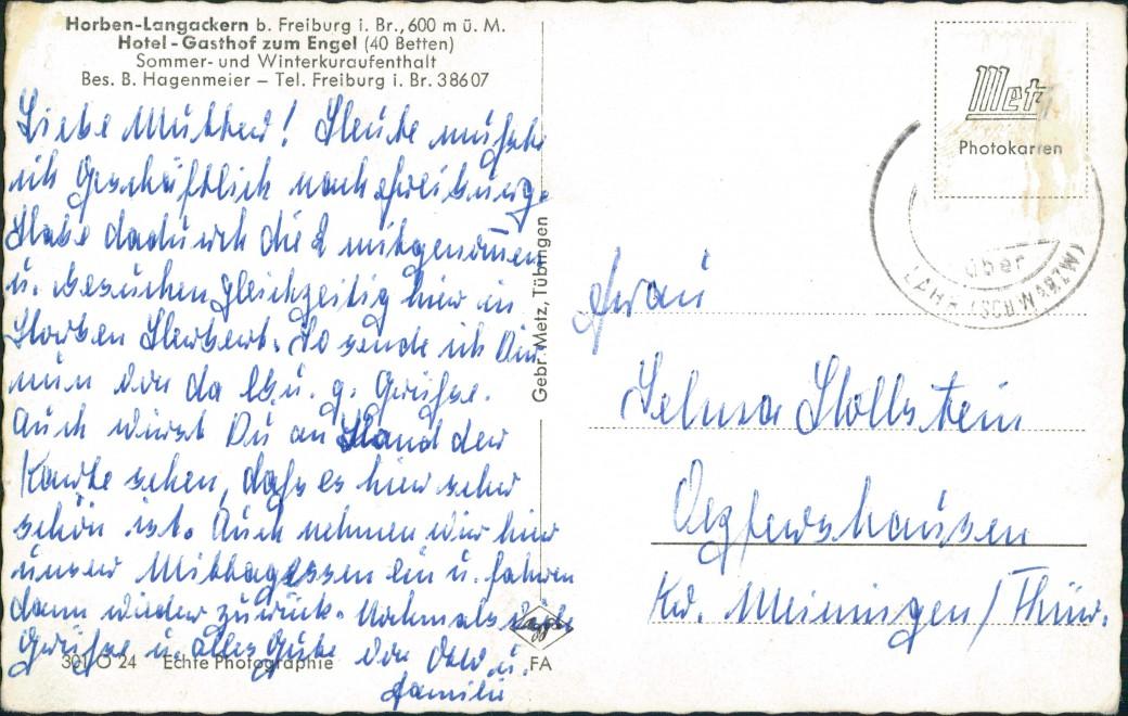 Ansichtskarte Freiburg im Breisgau Horben-Langackern Gasthof zum Engel 1963 1