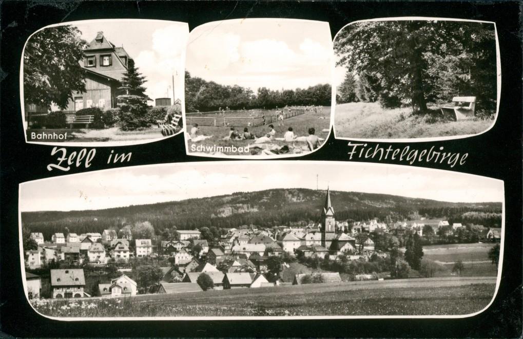 Ansichtskarte Zell im Fichtelgebirge Schwimmbad, Bahnhof, Stadt 1967 0