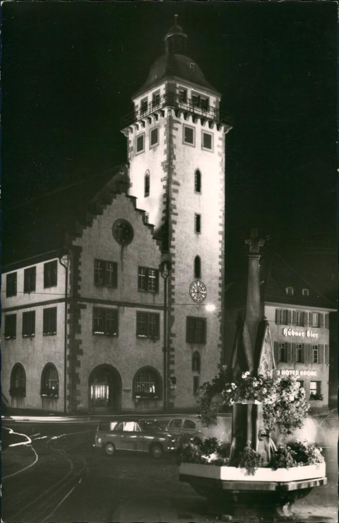 Ansichtskarte Mosbach (Baden) Hotel und Rathaus bei Nacht 1964 0