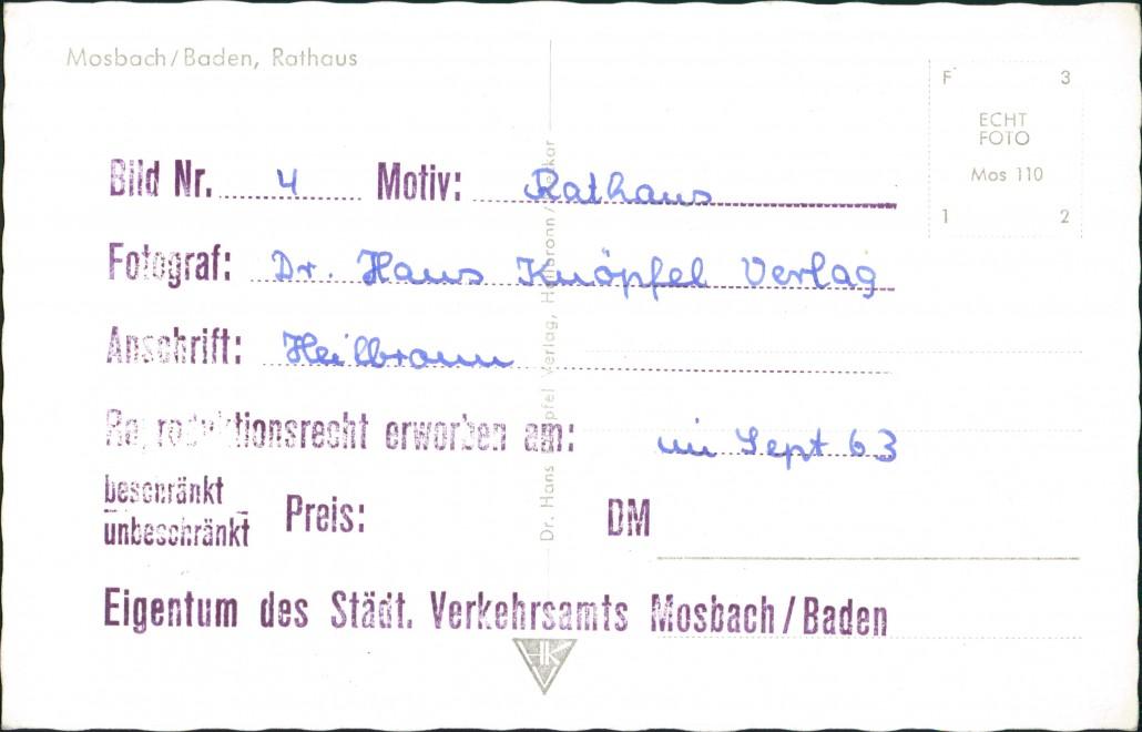 Ansichtskarte Mosbach (Baden) Hotel und Rathaus bei Nacht 1964 1