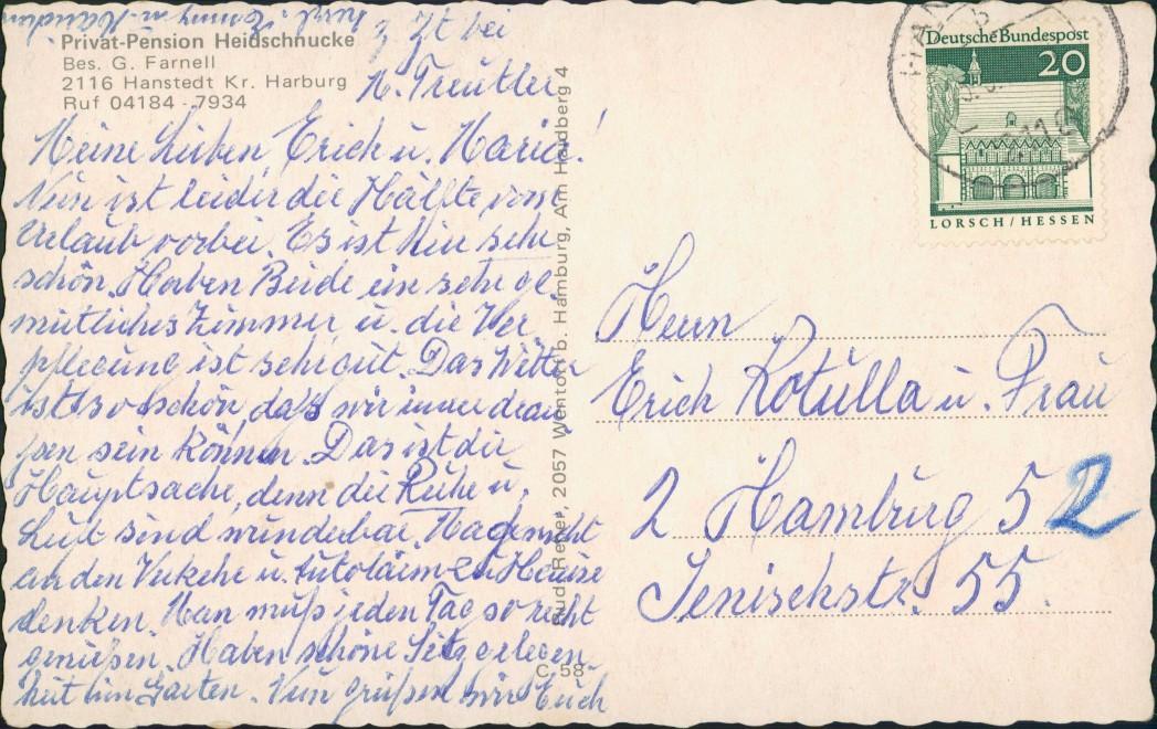 Ansichtskarte Hanstedt (Nordheide) Privat Pension Heidschnucke 1963 1