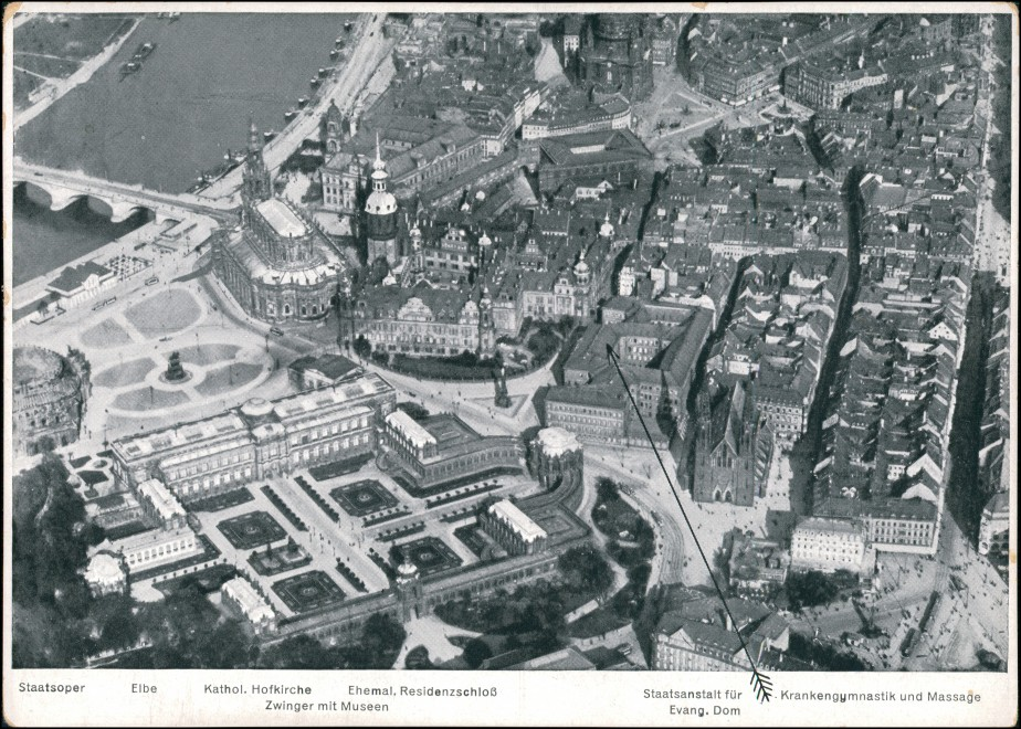 Dresden Luftbild Staatsanstalt für Krankengymnastik und Massage 1932 0