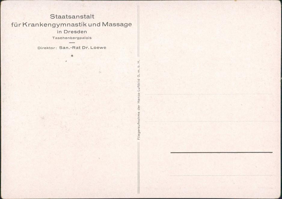 Dresden Luftbild Staatsanstalt für Krankengymnastik und Massage 1932 1