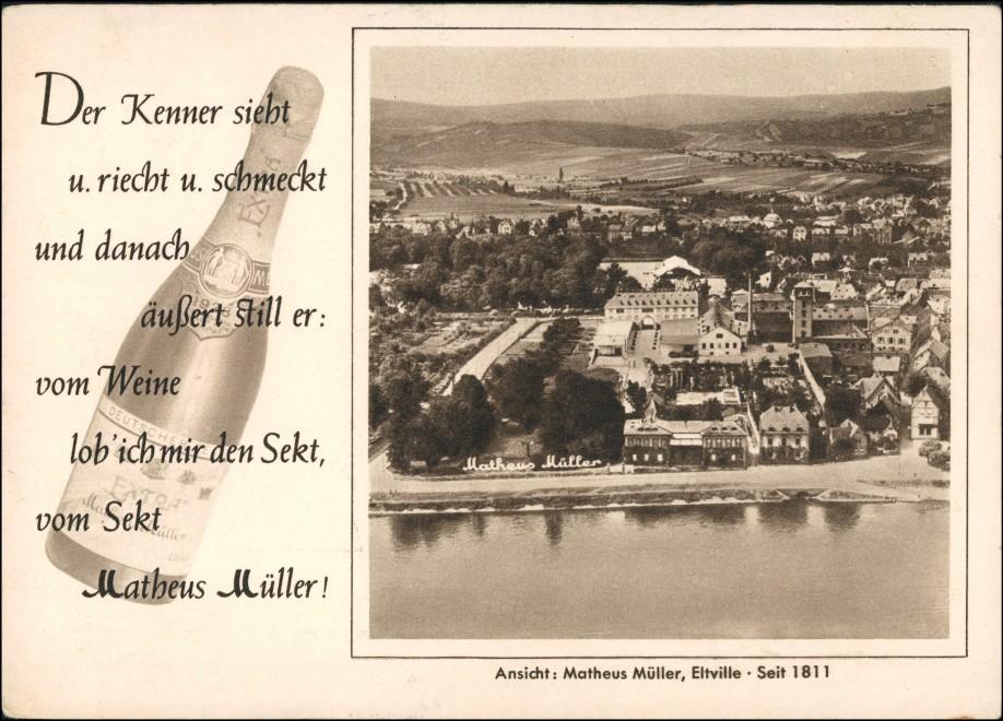 Ansichtskarte Eltville am Rhein Luftbild Sektkellerei Matheus Müller 1928 0