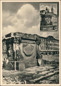 Innere Neustadt-Dresden Neustädter Markt vor und nach der Zerstörung 1956