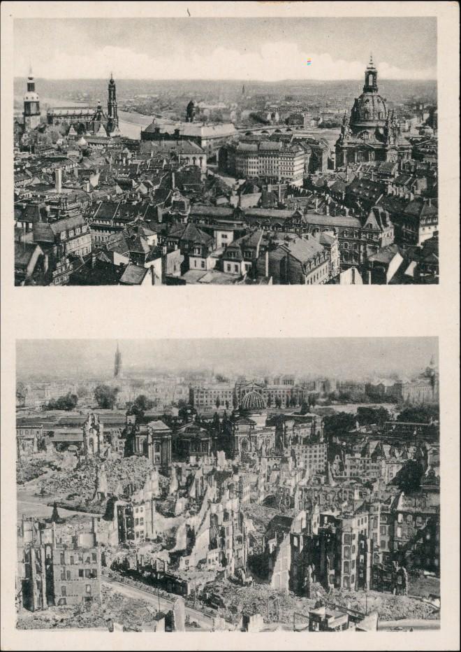Ansichtskarte Dresden Stadt vom Rathausturm vor und nach der Zerstörung 1954 0