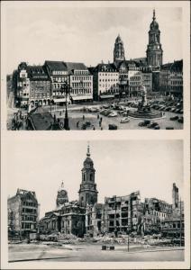 Innere Altstadt-Dresden vor und nach der Zerstörung Altmarkt 1954