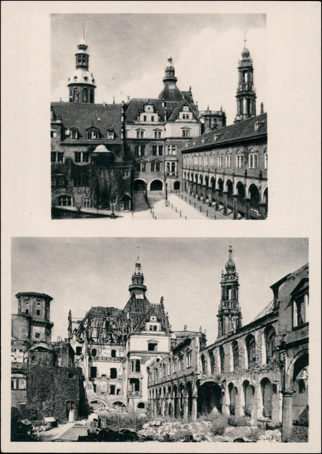 Innere Altstadt-Dresden Residenzschloss vor und nach der Zerstörung 1954 0