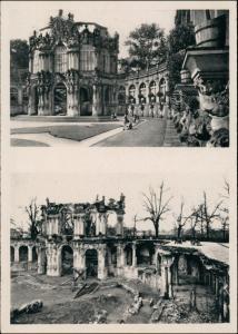 Innere Altstadt-Dresden Zwinger vor und nach der Zerstörung 1954