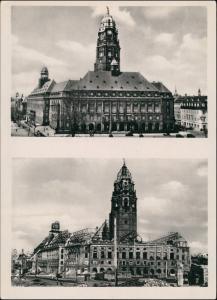 Innere Altstadt-Dresden Neues Rathaus vor und nach der Zerstörung 1953