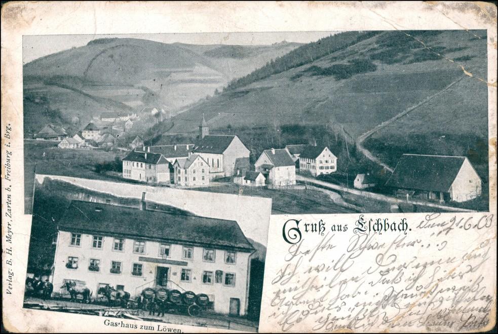 Ansichtskarte Kirchzarten 2 Bild: Gasthaus Elchbach 1903 0
