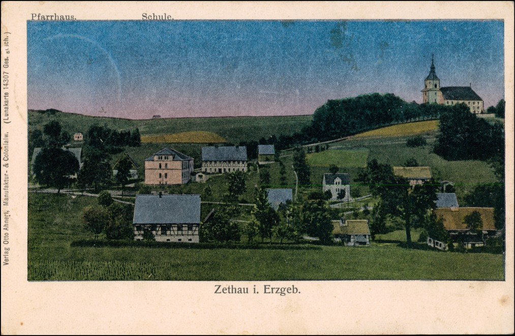 Ansichtskarte Zethau-Mulda (Erzgebirge) Effektkarte - Stadt 1908 Luna 0