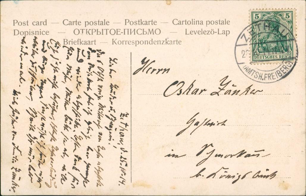 Ansichtskarte Zethau-Mulda (Erzgebirge) Effektkarte - Stadt 1908 Luna 1