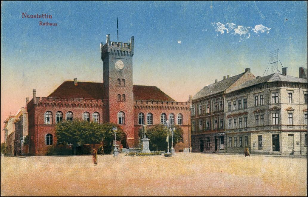 Postcard Neustettin Szczecinek Rathaus - Straße, Geschäfte 1912 0