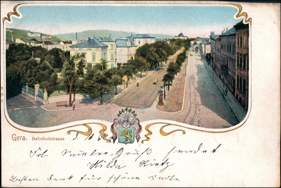 Ansichtskarte Gera Bahnhofstraße, Heraldik 1902 0
