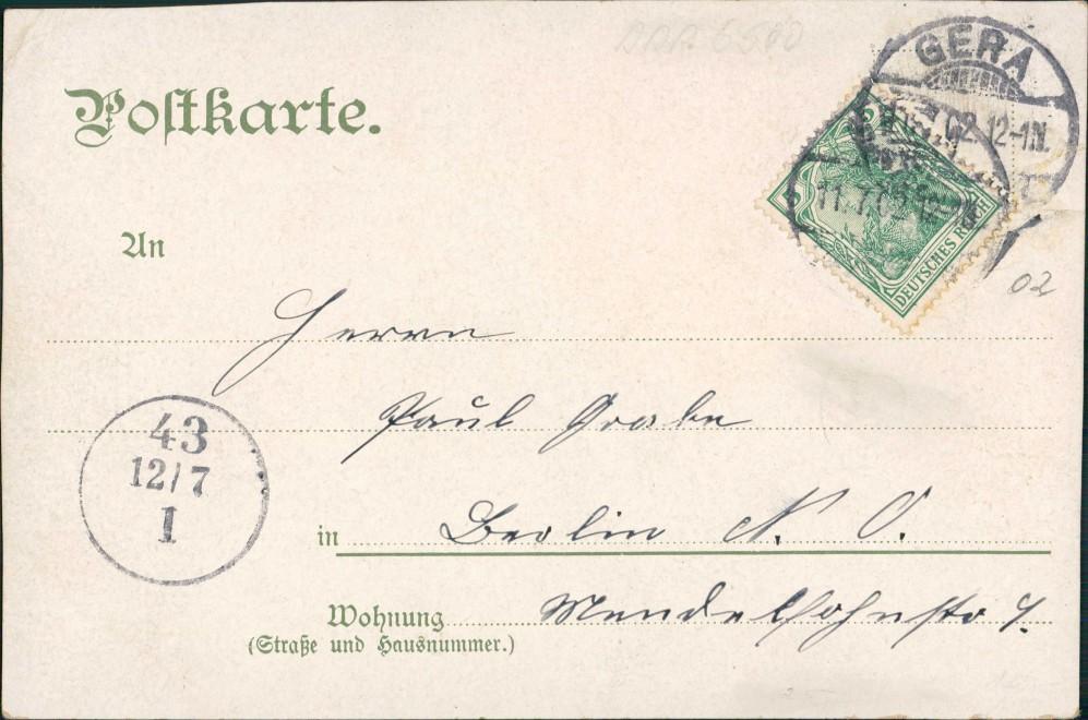 Ansichtskarte Gera Bahnhofstraße, Heraldik 1902 1