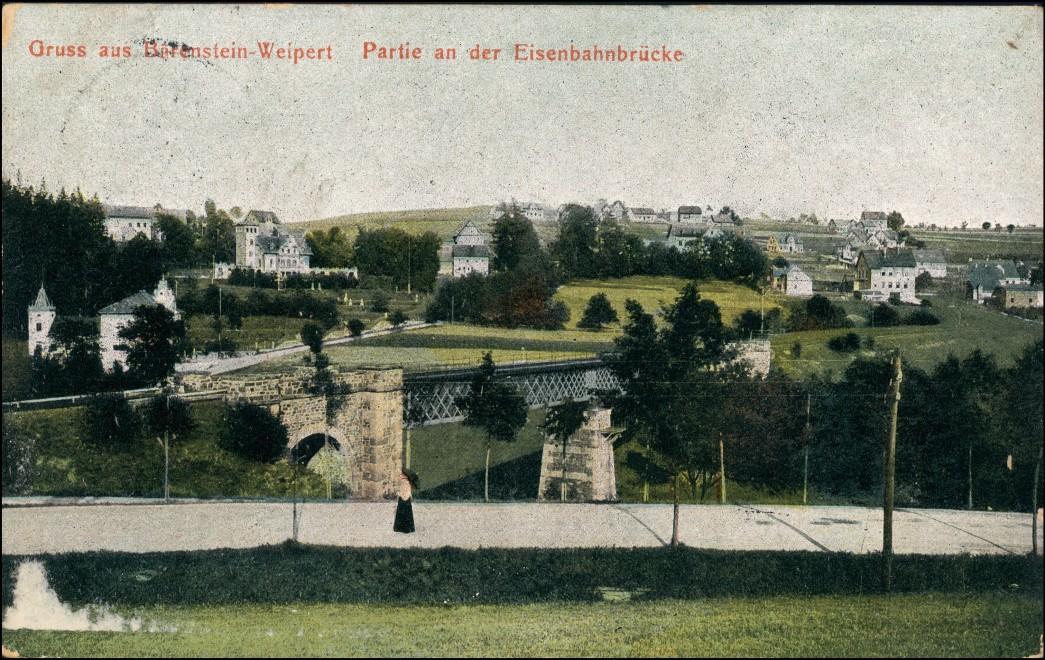 Postcard Weipert Vejprty Eisenbahnbrücke Bärenstein 1913 0