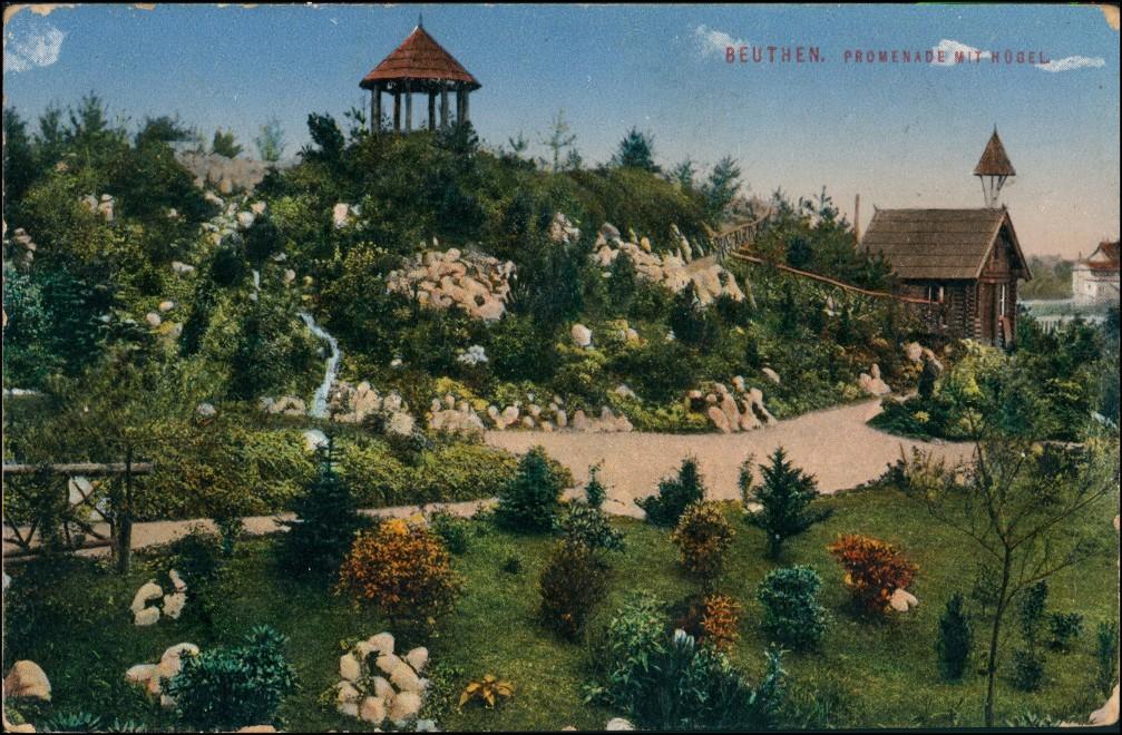 Beuthen O.S. Bytom   Beuthn Promenade mit Hügel Gel. Neudeck Oberschlesien 1915 0