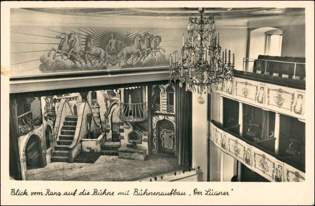 Celle SchlossBlick vom Rang auf die Bühne mit Bühnenaufbau. 1932 0