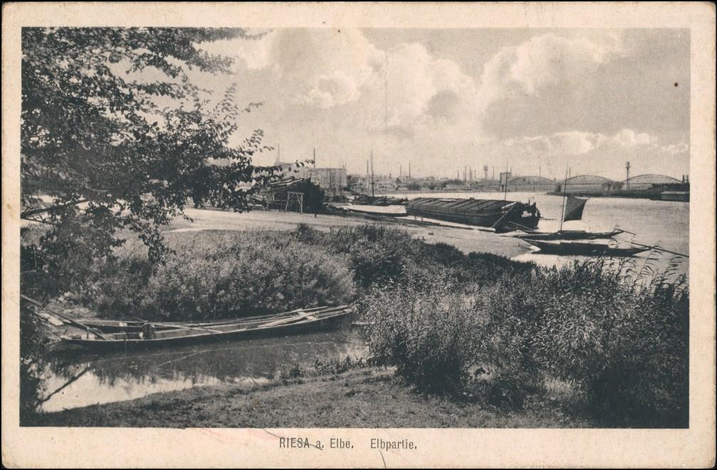 Ansichtskarte Riesa Schlepper - Elbpartie 1914 0