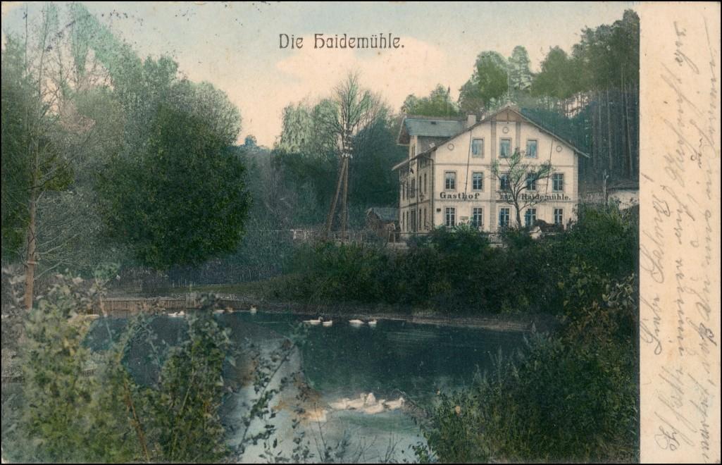 Ansichtskarte Langebrück-Dresden Gasthaus Haidemühle coloriert 1907 0