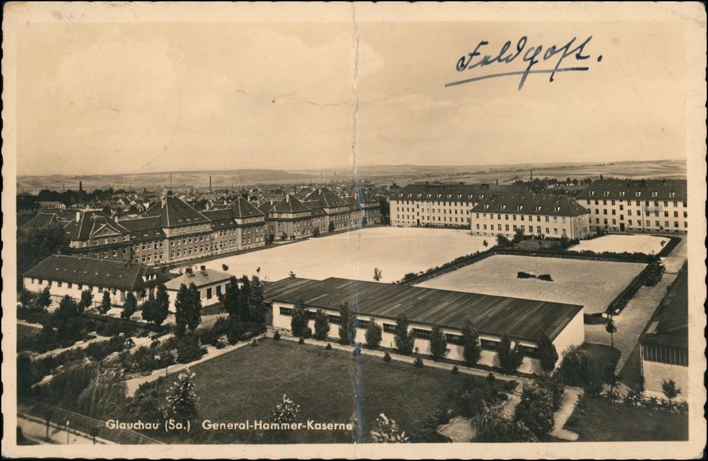 Ansichtskarte Glauchau Blick über die General Hammer Kaserne 1940 0
