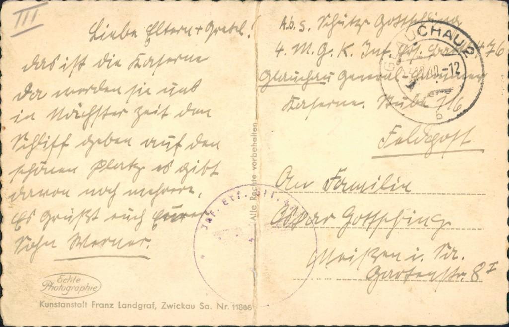 Ansichtskarte Glauchau Blick über die General Hammer Kaserne 1940 1