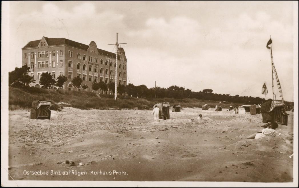 Ansichtskarte Binz (Rügen) Kurhaus Prora Strand 1928 0