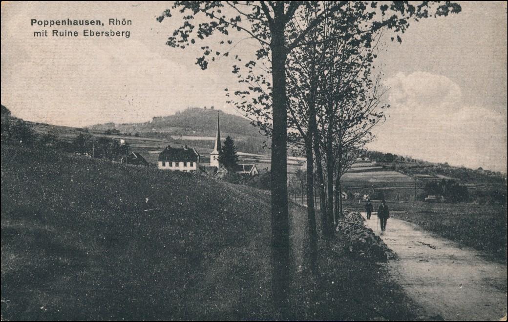 Ansichtskarte Poppenhausen (Wasserkuppe) Straße zur Stadt 1919 0