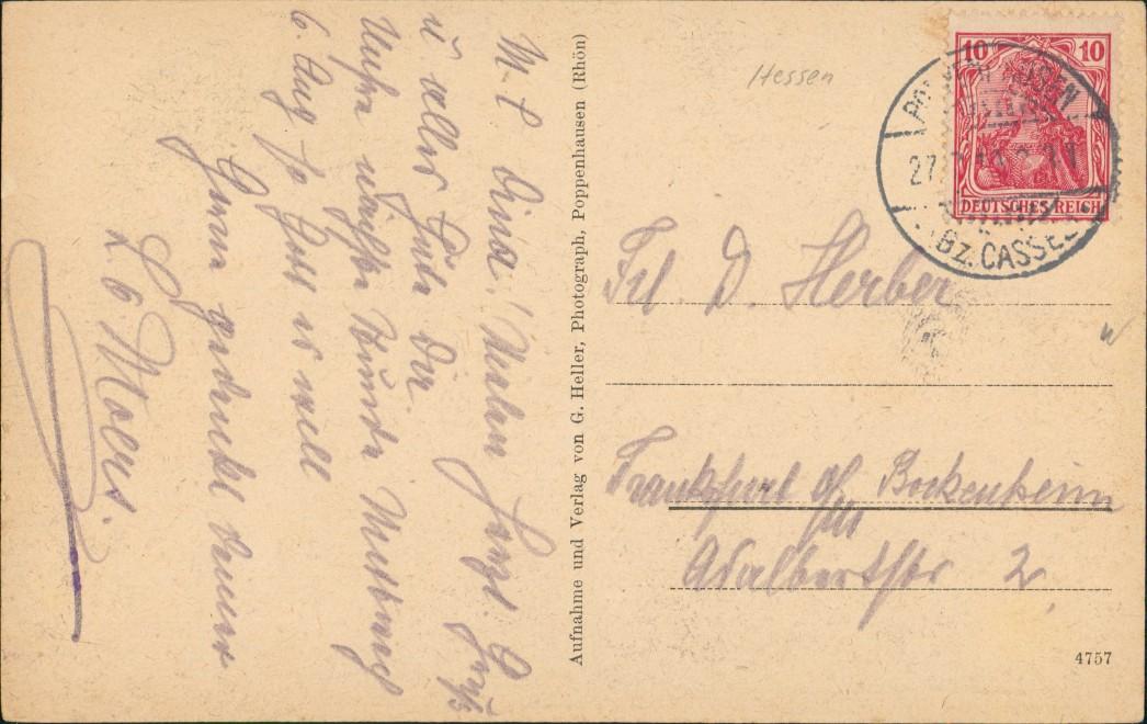 Ansichtskarte Poppenhausen (Wasserkuppe) Straße zur Stadt 1919 1