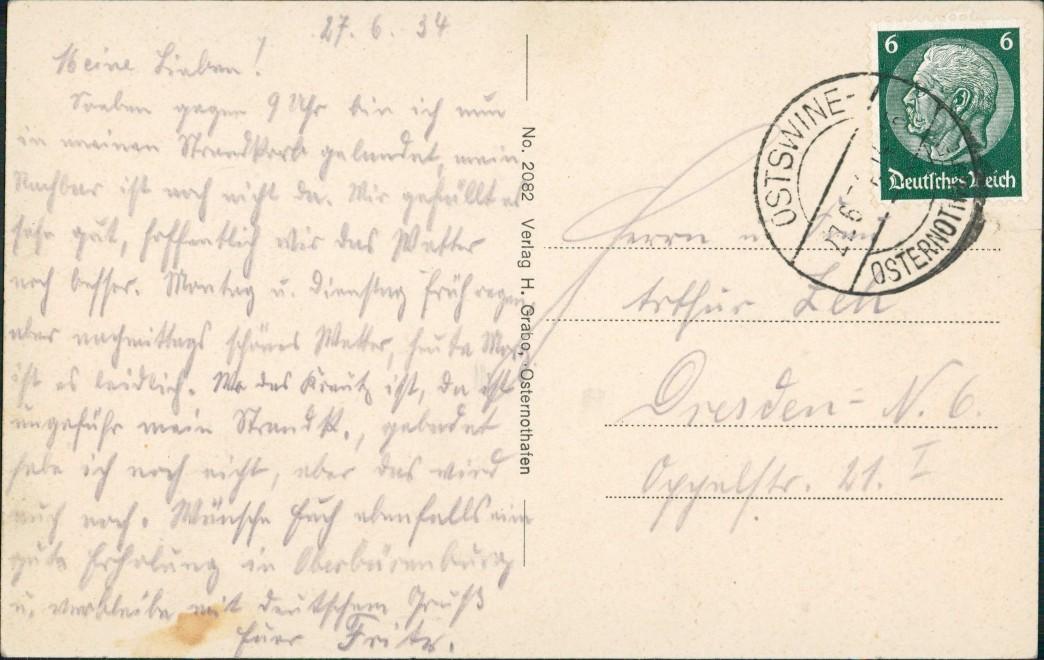 Osternothafen (Ostswine)-Swinemünde Warszów Świnoujście aus der Vogelschau 1927 1