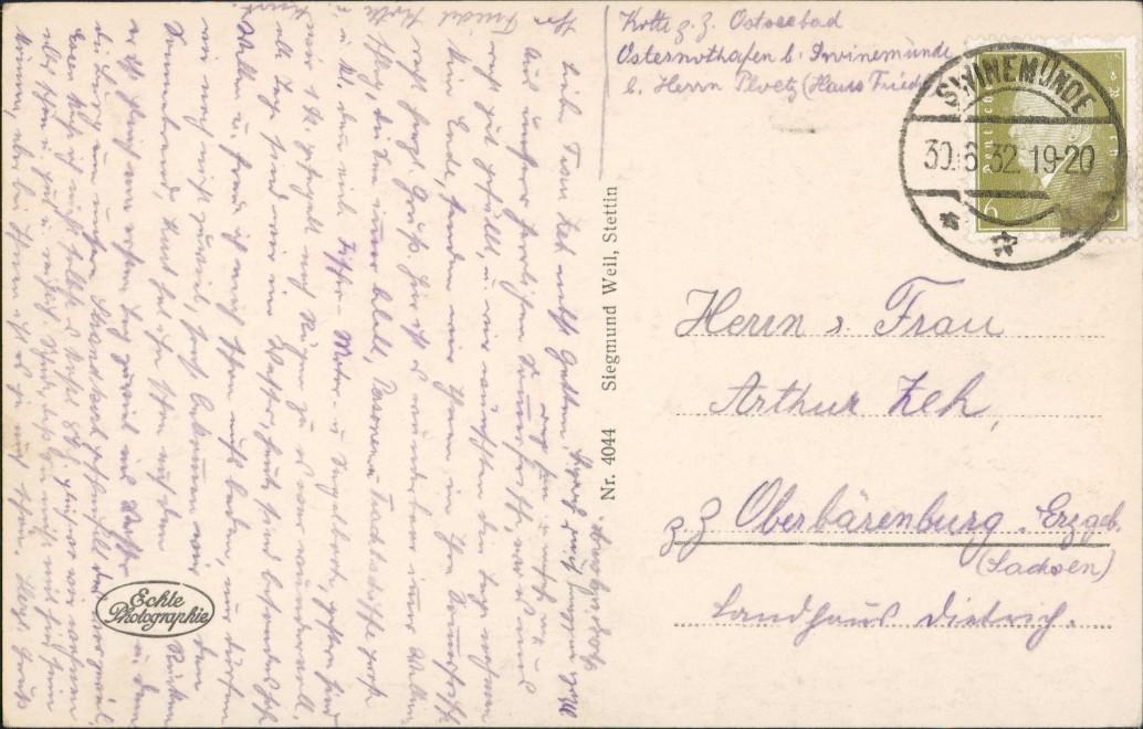 Osternothafen (Ostswine)-Swinemünde Warszów Świnoujście Ostmole 1932 1