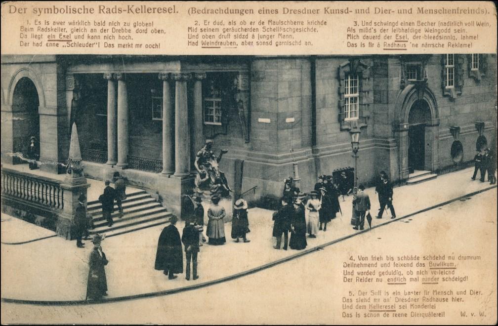 Innere Altstadt-Dresden Ratskeller Esel Menschen Sprüche auf sächsisch 1912 0