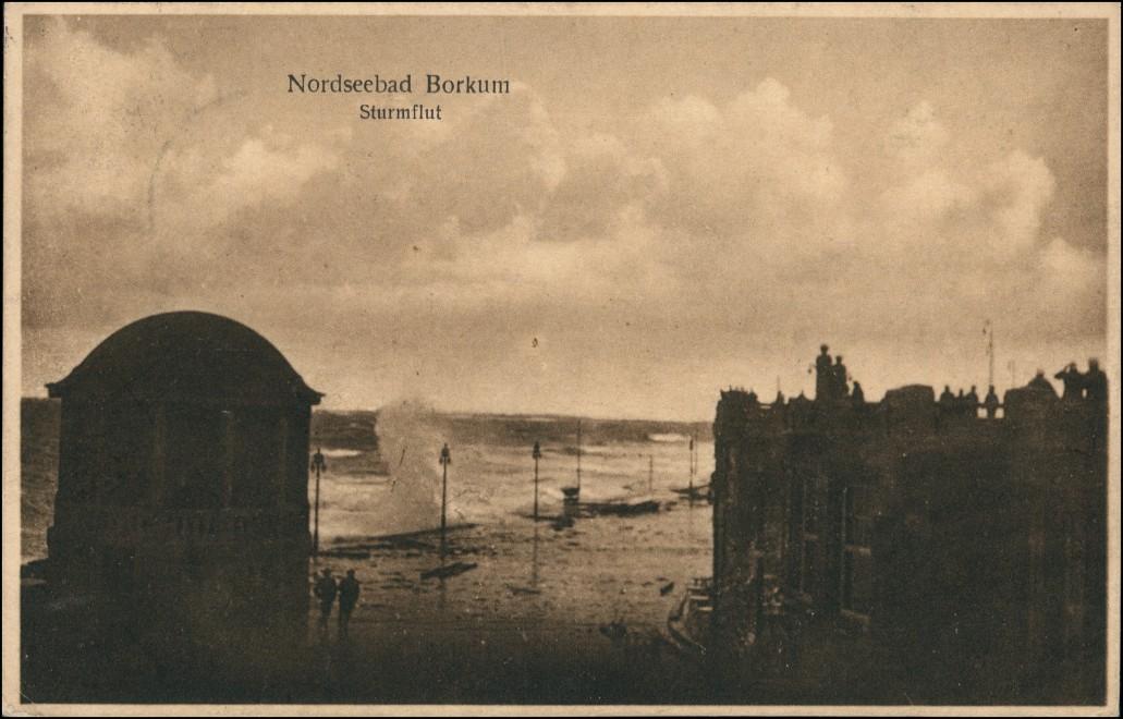 Ansichtskarte Borkum Promenade bei Sturmflut 1925 0