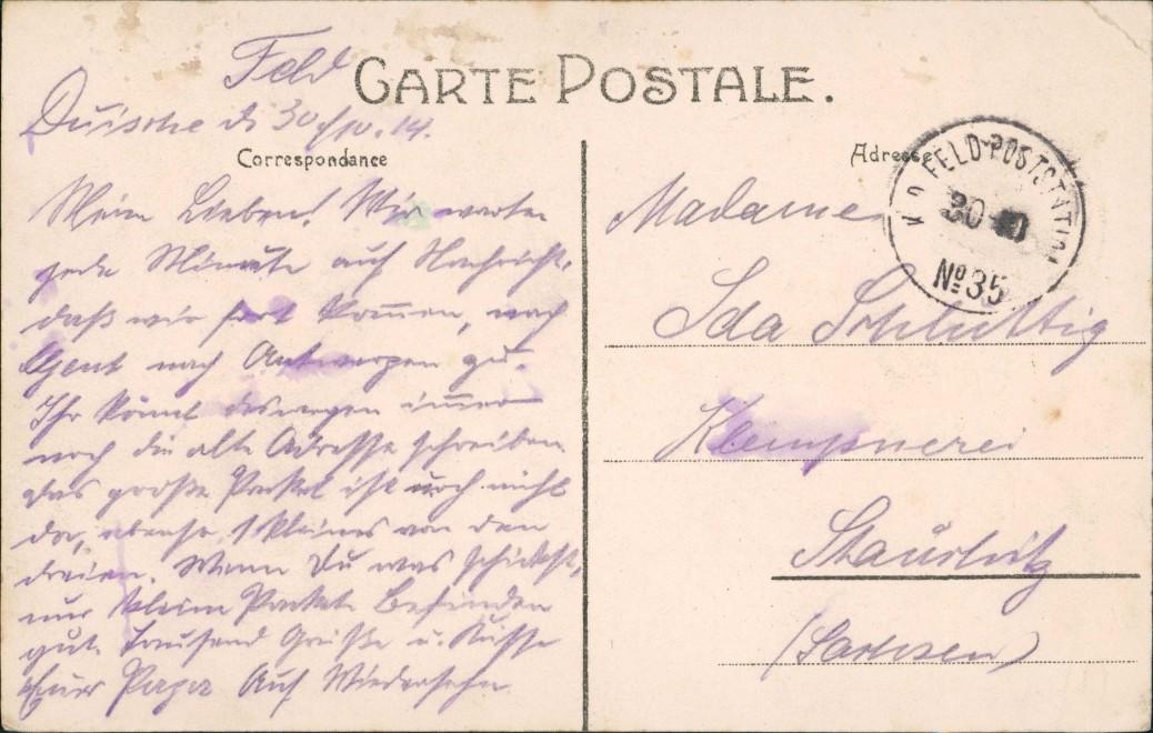 Postkaart Doische Ecole des Filles (Schule) b. Numur Namen 1914 1