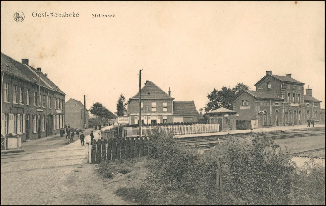Postkaart Oostrozebeke Oostroosbeke Statiehoek Bahnhof Straße 1912 0