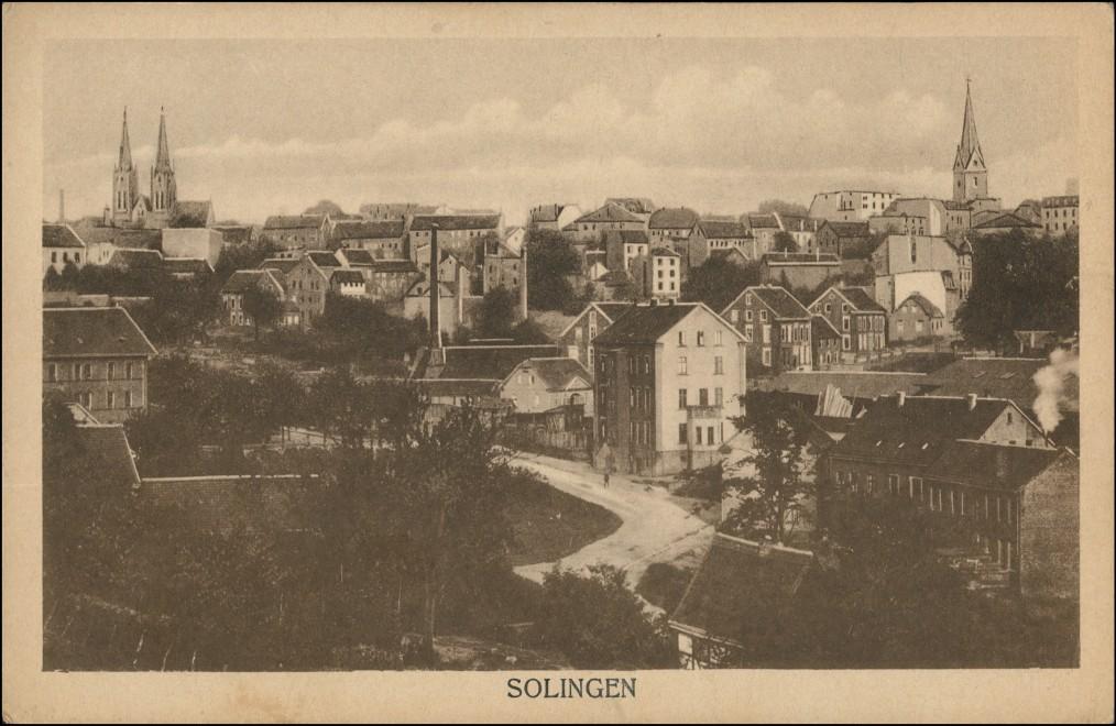 Ansichtskarte Solingen Straßenpartie in der Stadt 1922 0